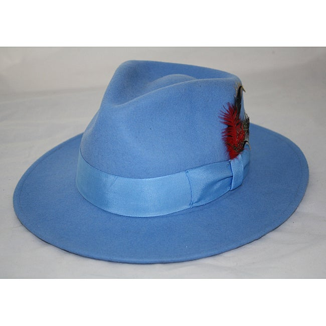 8911afd403d Shop Ferrecci Men s Light Blue Wool Fedora Hat - Free Shipping On Orders  Over  45 - Overstock - 6353662
