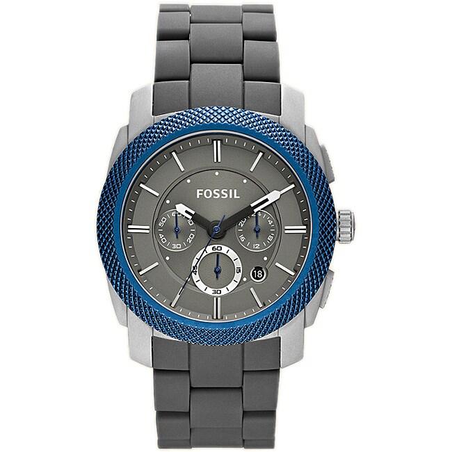 Fossil Men's 'Machine' Silicone Strap Aluminum Chronograph Watch