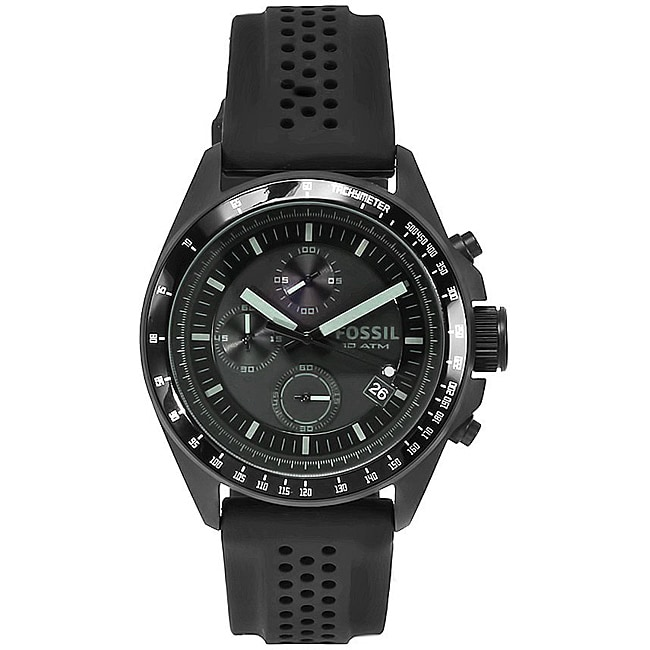 Fossil Men's 'Decker' Rubber Strap Chronograph Watch - Thumbnail 0