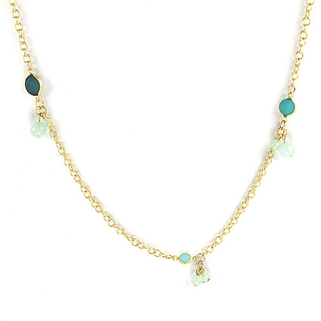 West Coast Jewelry Goldtone Green Faux Stone Ball Cluster Necklace