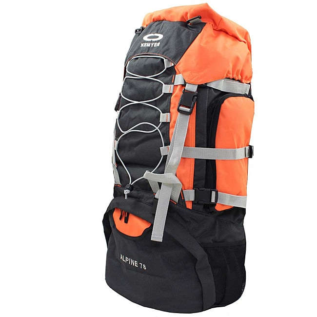 Kemyer 5500 Cubic Inches Deluxe Hiking Backpack - Black/Orange