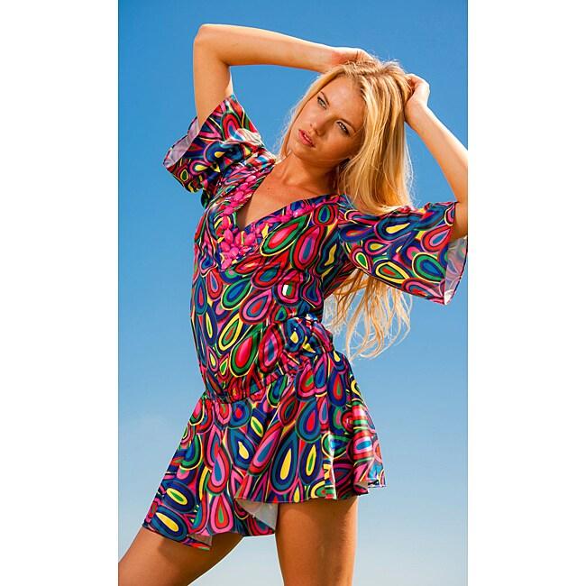 Rachel Lym Tallia V-neck Kimono-style Swim Cover-up with Beaded Detail