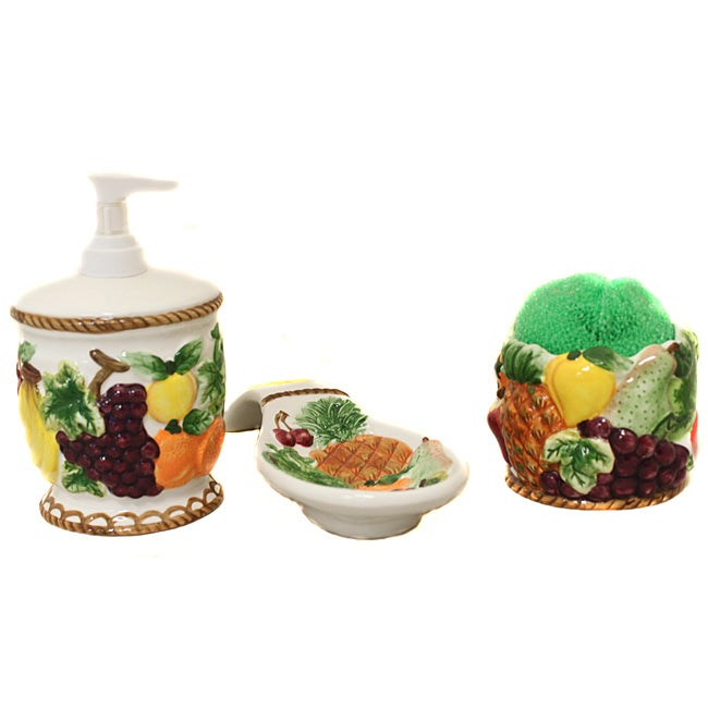 Tropical Fruit Collection 3-piece Lotion Pump and Spoon Rest Countertop Set