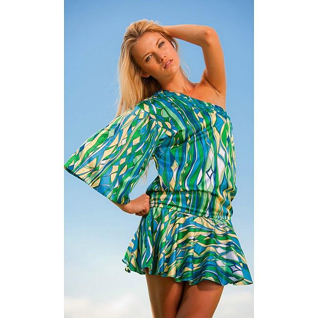 Rachel Lym Layhela One Shoulder Kimono Swim Cover