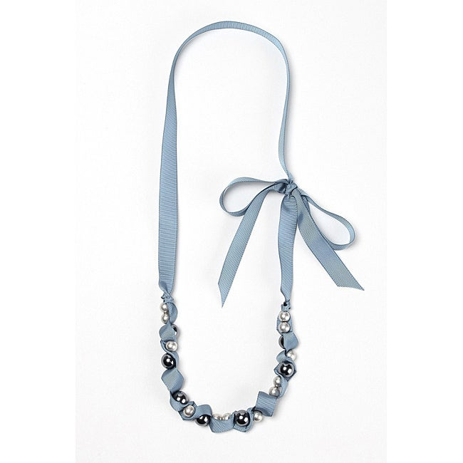 Pretty LIttle Style Blue Faux Pearl Adjustable Necklace