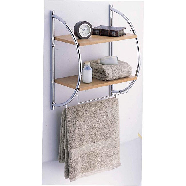 Manhattan 2 Tier Wood Mounting Shelf with Towel Bars - Thumbnail 0