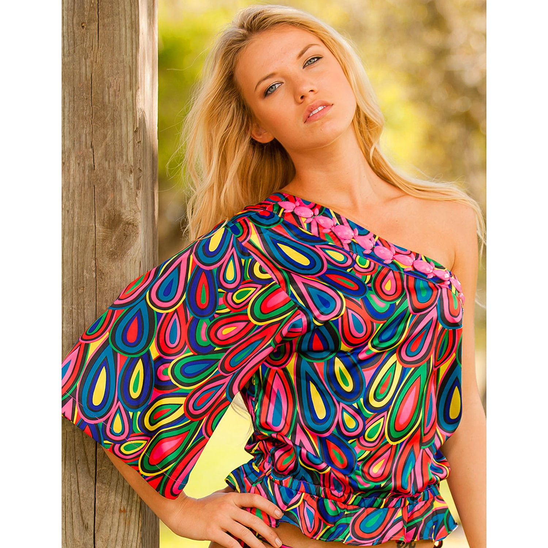 Rachel Lym Women's Crista Teardrop One-shoulder Kimono Sleeve Blouse