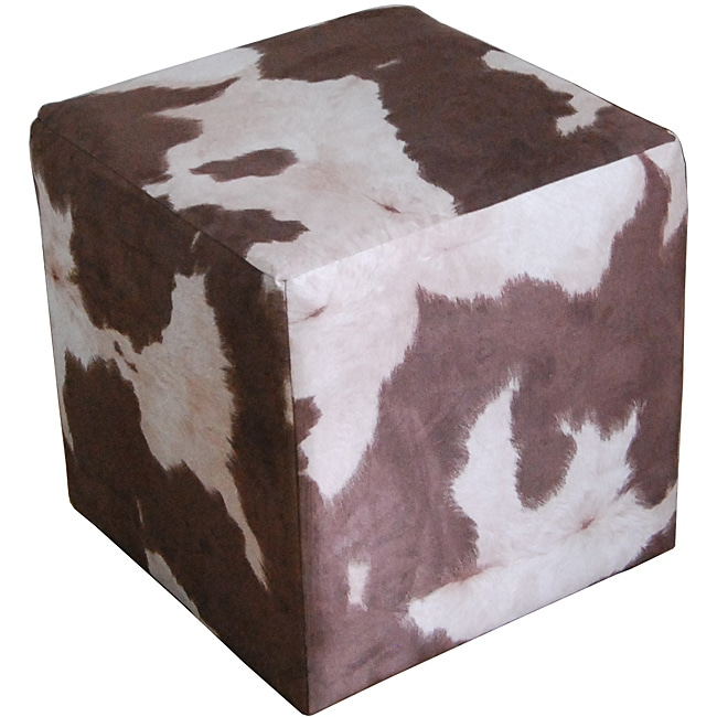 Cube Faux Western Pony Microfiber Ottoman Free Shipping