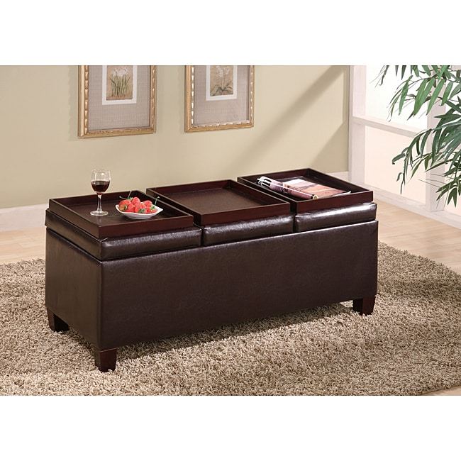 Dark Brown Leather Storage Bench Ottoman with Trays