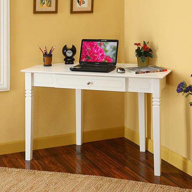 White Wood Corner Computer Desk