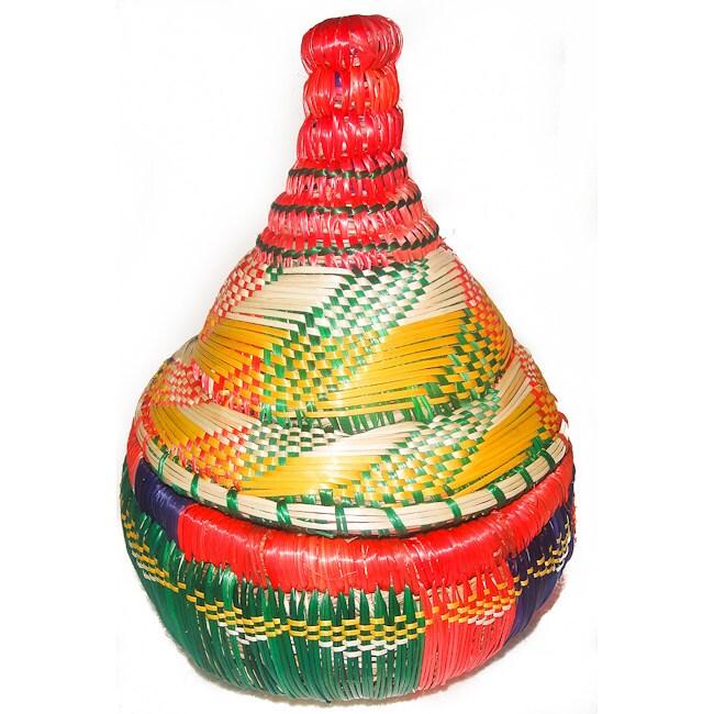 Handcrafted Ethiopian Multi-colored Wicker Basket (Ethiopia)