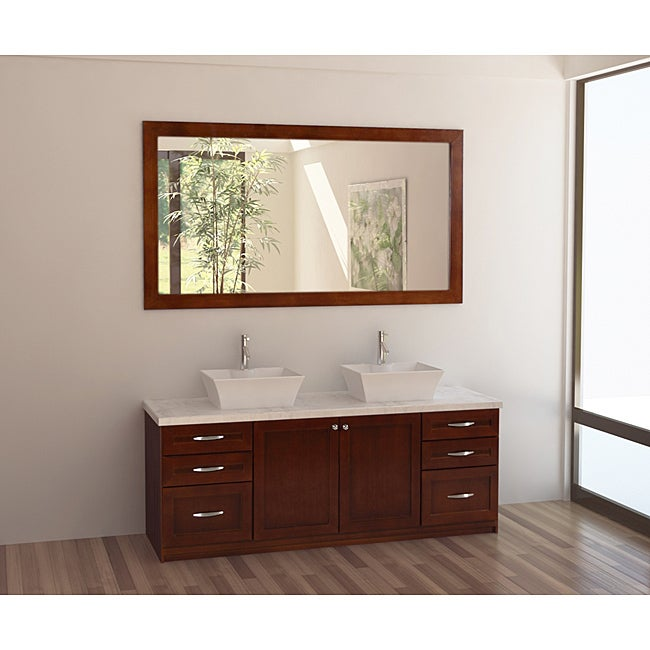 Design Element Madeline Dark Cherry 72 Inch Double Sink