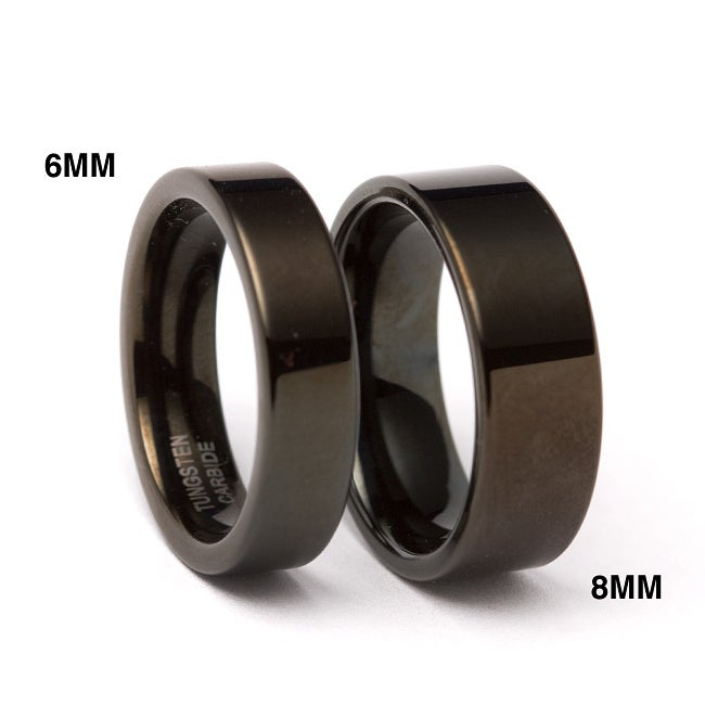 Men's Tungsten Black Carbide Flat Ring