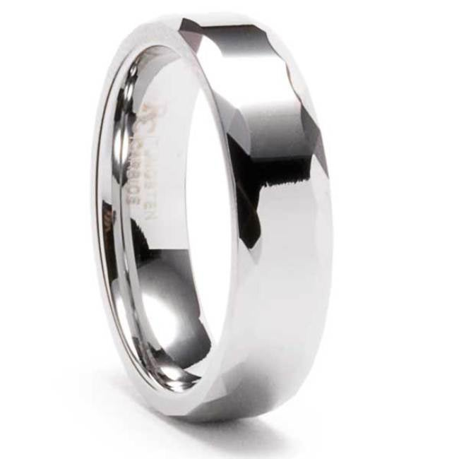 Men's Tungsten Triangular Faceted Edge Ring (6 mm) - Thumbnail 0