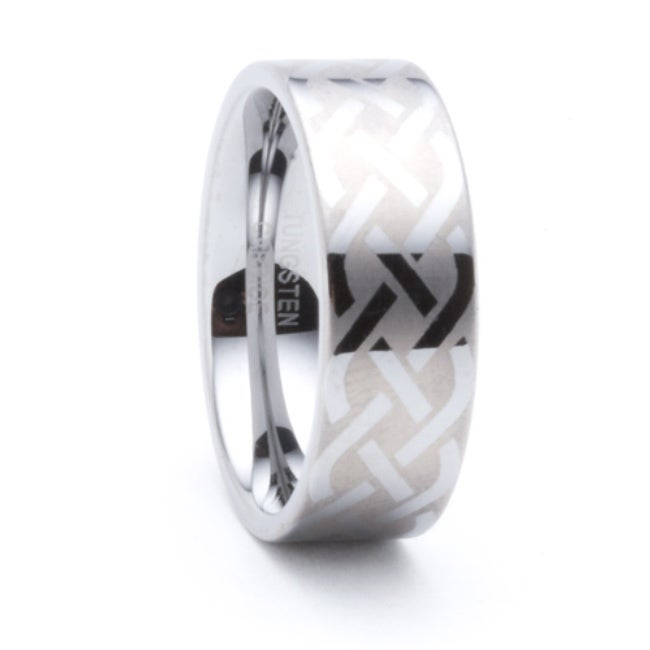 Men's Tungsten Celtic Laser-etched Ring (8 mm) - Thumbnail 0