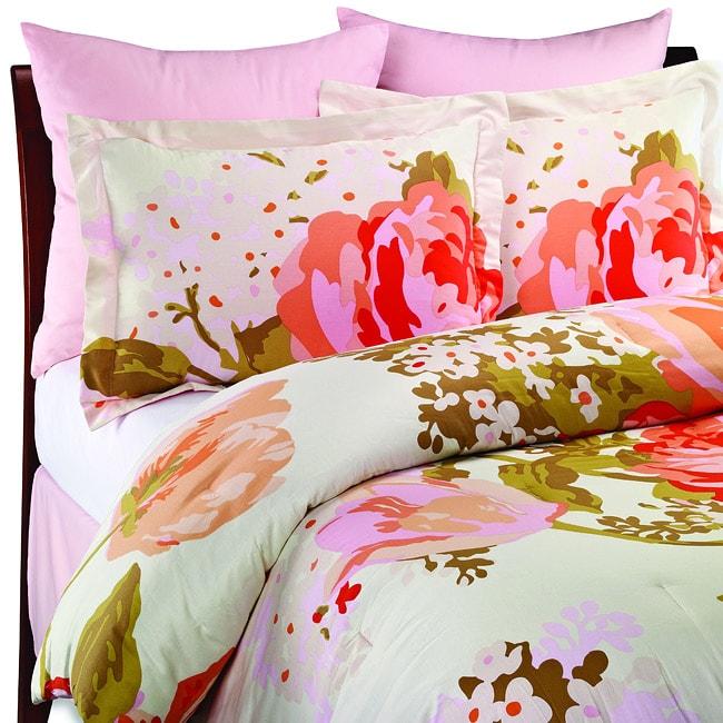 Isaac Mizrahi Pink Cotton Sateen 6-piece Full-size Comforter Set