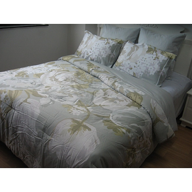 Isaac Mizrahi Silver Cotton Sateen 6-piece King-size Comforter Set