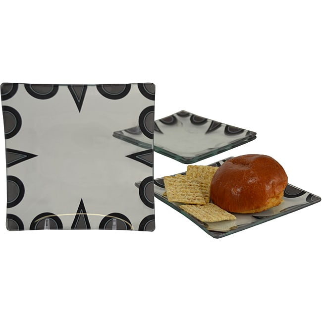 Deco Dot 6-inch Tempered Glass Plates (Set of 4