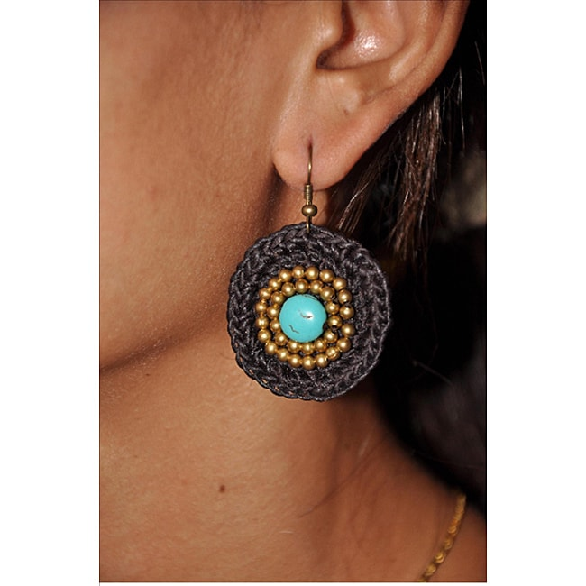Thai Turquoise Brass Earrings (Thailand)