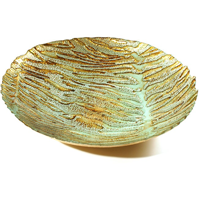 Wild Cat Turquoise/Brown Gilded Shallow Bowl (Large)