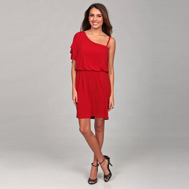 Emma & Michelle Womens Red One shoulder Dress