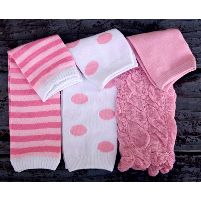 Pink-and-white Polyester Three-piece Baby Leg Warmer Set