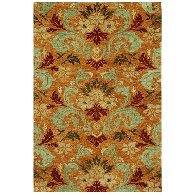 Hand-tufted Orange Wool Rug (5'6 x 8'6)