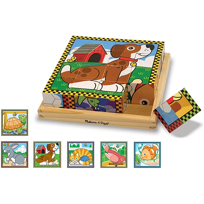 Melissa & Doug Pets 16-piece Wooden Cube Puzzle with Six Animals