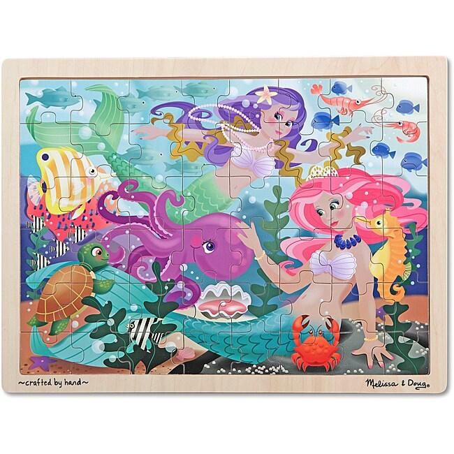 Melissa & Doug Mermaid Fantasea Wooden Jigsaw Puzzle - 48pc