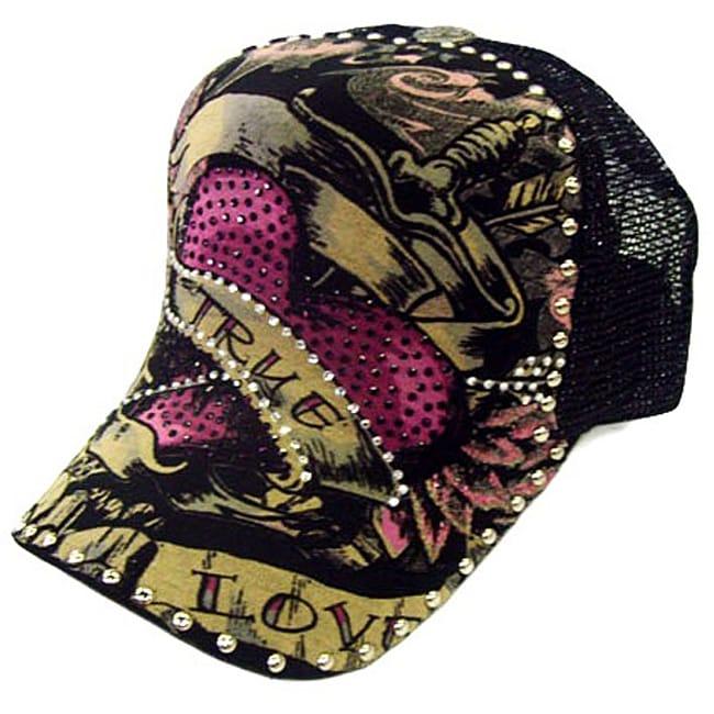 Head Wear Women's 'True Love' Adjustable Rhinestone Trucker Hat