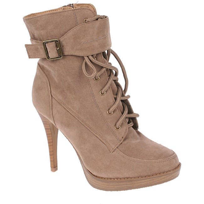 Elegant Women's Nude Peggy-1 High Heel Combat Ankle Boots