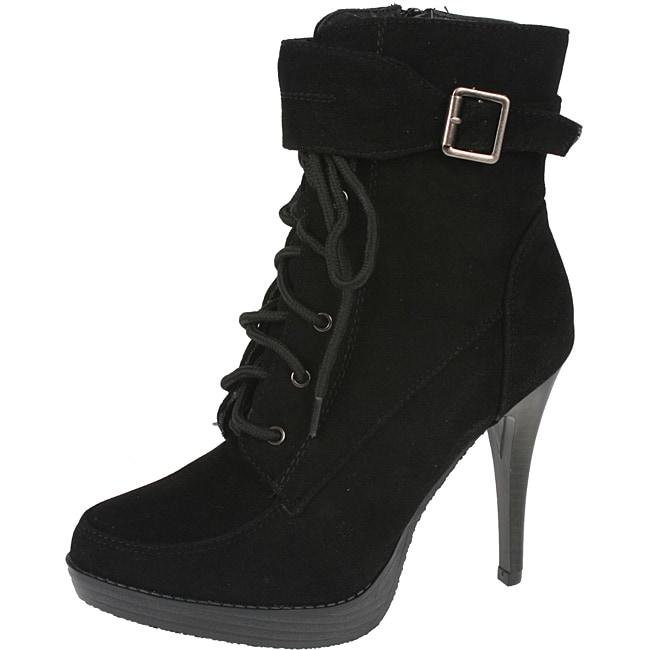 372e6d2d59c Elegant Women's Black Peggy-1 High Heel Combat Ankle Boots