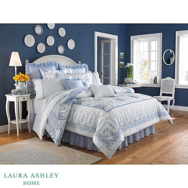Laura Ashley 'Sophia' Full/Queen size White/Blue 3-Piece Duvet Cover Set