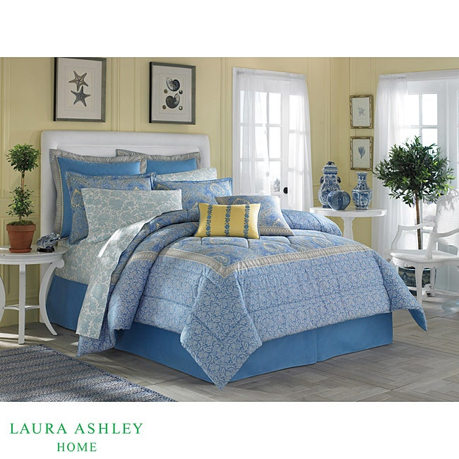 Laura Ashley Prescot Blue Yellow 3 Piece Full Queen
