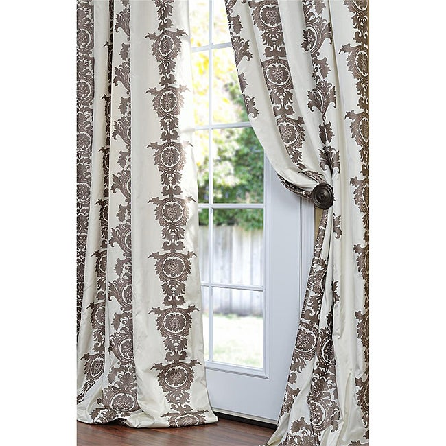 Exclusive Fabrics Ralston Cream And Brown Patterned Faux Silk 108-inch Curtain Panel