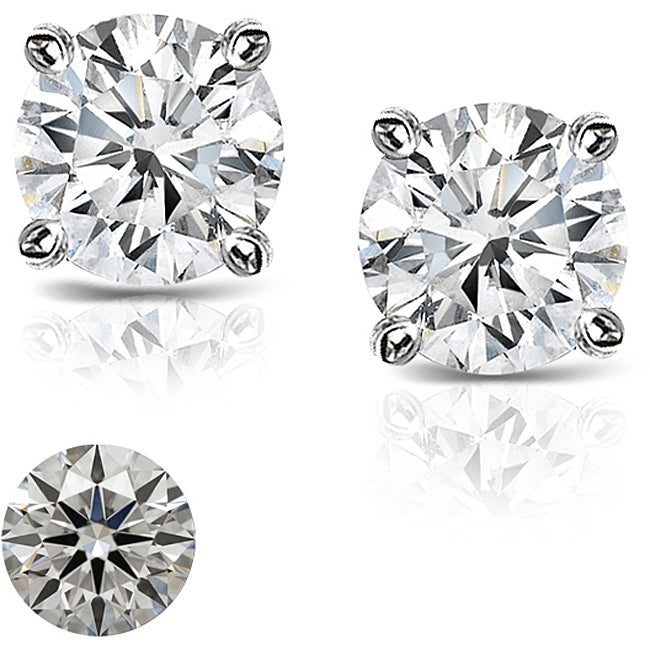 Platinum 5/8ct TDW Hearts and Arrows Diamond Stud Earrings (J-K, SI1-SI2)