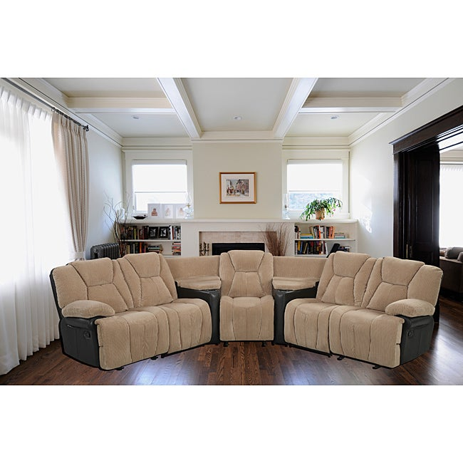 Media Sectional Three Reclining Seats Free Shipping
