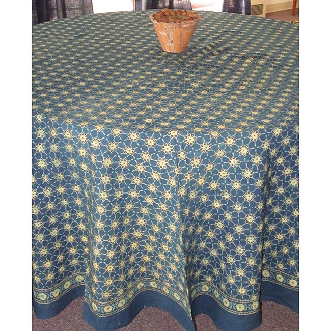 Handmade Cotton Ajrakh Indigo 90 Inch Round Tablecloth (India)
