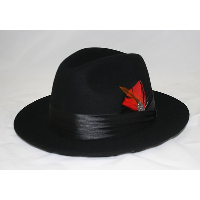 Ferrecci Men's Black Stingy Fedora Hat
