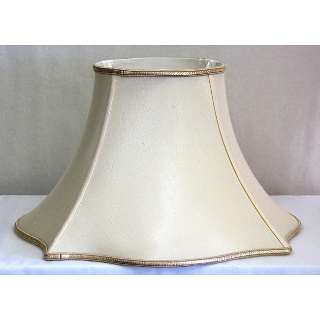Fancy Fluted Square Base Cream Silk Lamp Shade