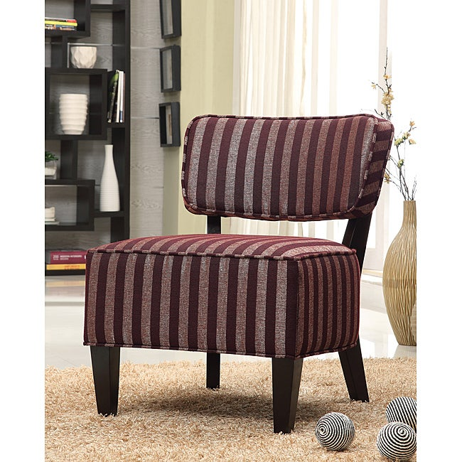 Fabric Accent Burgundy Stripe Lounge Chair Free Shipping