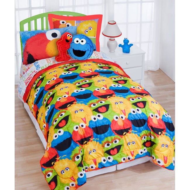 shop sesame street chalk twin size 5 piece bed in a bag 11507 | l13998228