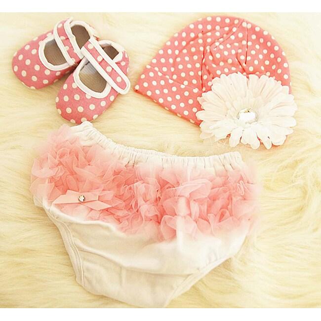 Pink Polka Dot Baby Girls Gift Set