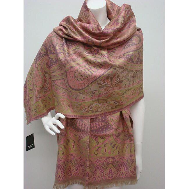 Selection Privee Paris Susan Olive Pink Paisley Silk-blend Wrap