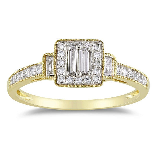 Miadora 10k Yellow Gold 1/3ct TDW Diamond Halo Ring - Thumbnail 0