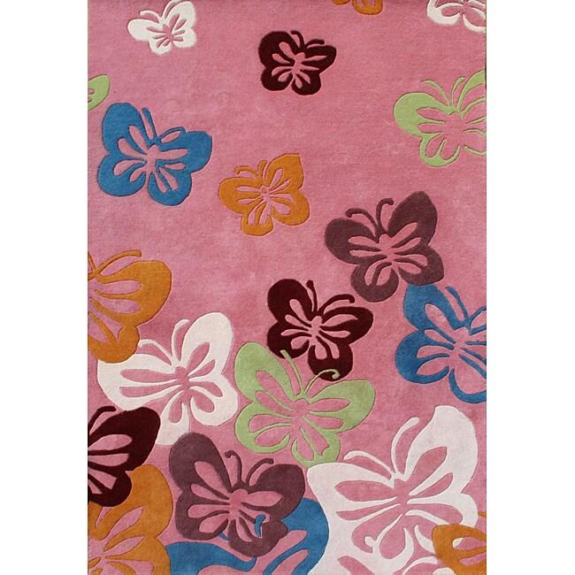 Alliyah Handmade Pink New Zealand Blend Wool Rug  (5' x 8')