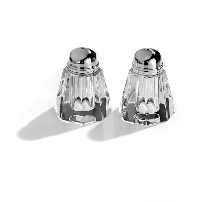 Fifth Avenue Crystal Ridged 'Reflections' 2-Piece Salt/ Pepper Shaker Set