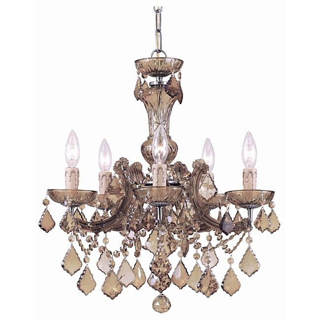 Crystorama Maria Theresa Antique Brass 5-light Chandelier
