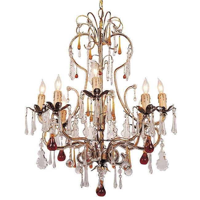 Crystorama Venice Gold Leaf 8-light Chandelier