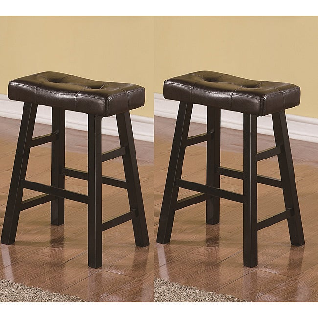Saddle Black Brown 24-inch Biecast Leather Counter-height Bar Stools (Set of 2)